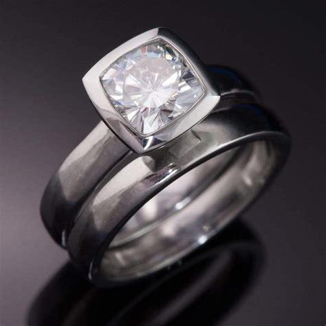 cushion moissanite bezel engagement ring and wedding band bridal