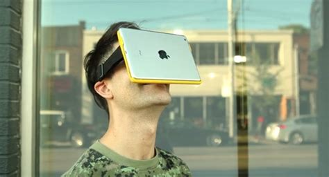 Iegūsti virtuālo realitāti, piekarinot uz sejas 'iPad ...