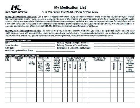 medication list template   health  medical