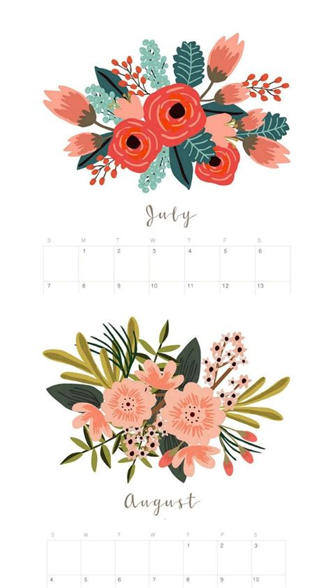beautiful floral  calendar monthly planner