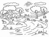 Forest Coloring Pages Nature Landscape Mountains Island Sea Sunny Raskrasil sketch template