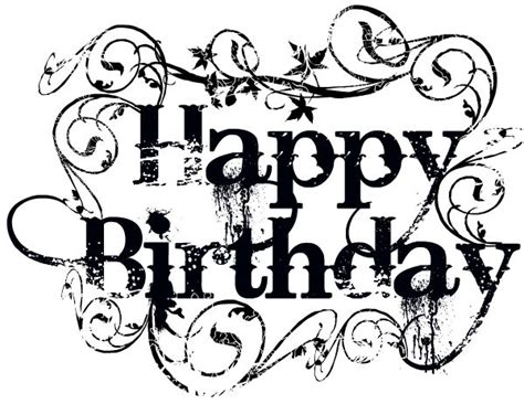 Happy Birthday Black And White Clipart