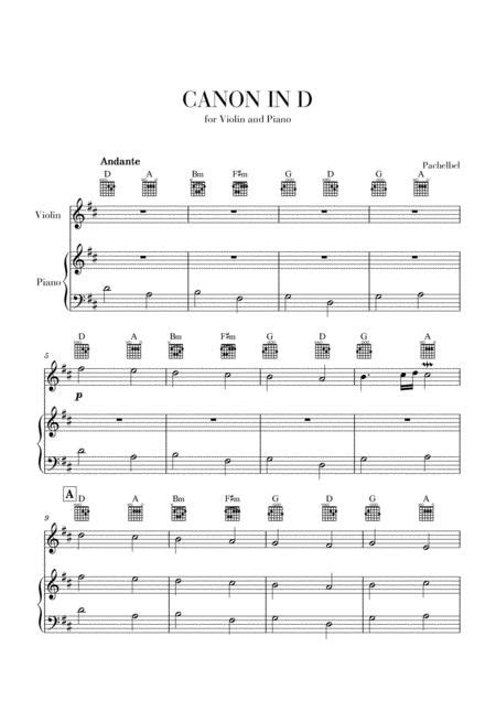 Explore the best sheet music selection and newest releases, powered by hal leonard. Canon In D For Violin And Very Easy Piano And Guitar Chords Sheet Music PDF Download ...