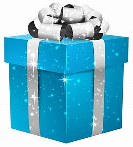 Blue Shining Gift Box with Silver Bow PNG Clipart Image ...