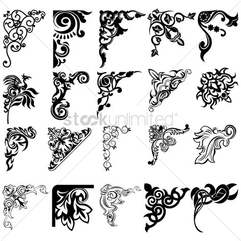 corner element designs vector image  stockunlimited