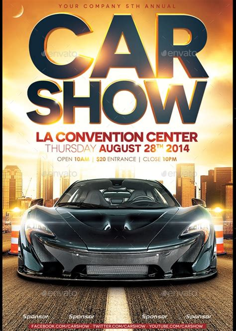 modern car show flyer designs creatives aidocspsd