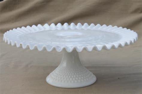 vintage fenton hobnail milk glass cake stand pedestal dessert plate