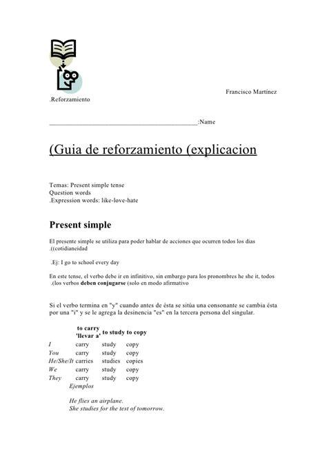 Guia Explicacion Presente Simple + Ejercicios