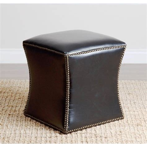 ottoman with nailhead trim elliot leather nailhead trim ottoman in black hs ot 1050 blk