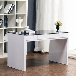 Maestro Computer Desk :: White High Gloss w/ Black Glass Top