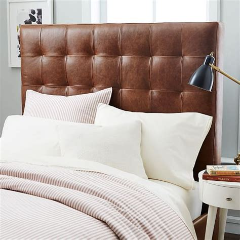 Tall Leather Grid Tufted Headboard   west elm