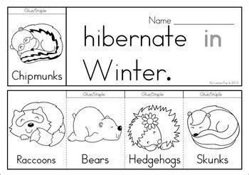 winter sight word fluency flip books animals  hibernate preschool kindergarten science