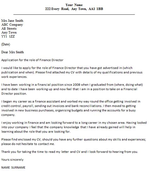 finance director cover letter  icoverorguk