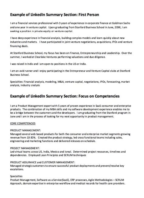 Linkedin Summary Template Linkedin Summary Resume Exle Http Resumesdesign