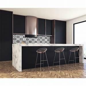 Cuisine Blanc Et Noir : cr dence effet carreaux ciment noir blanc credence cuisine deco ~ Voncanada.com Idées de Décoration