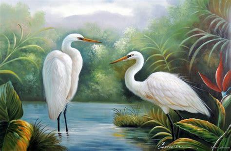Great White Heron Egret Pair Swamp Bird Of Paradise