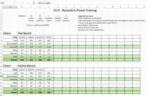 hp 1 records in power rip training With bodybuilding excel template