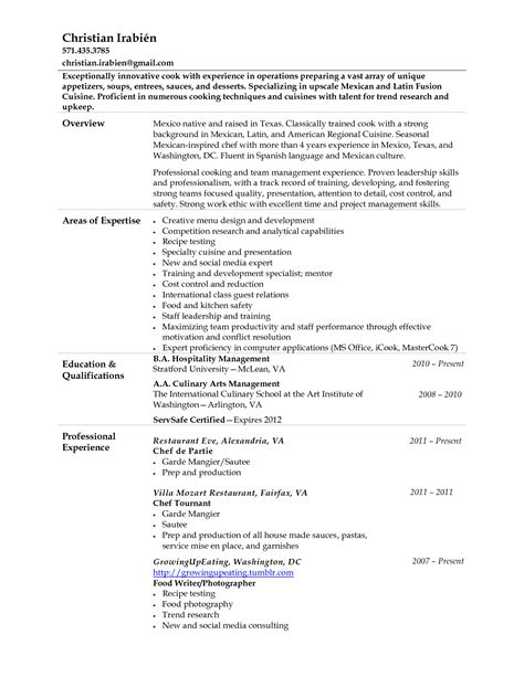 sle of chef resume 28 images catering manager resume