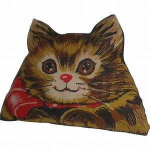 Charming Vintage Fabric Panel Cat Pillow from rubylane ...