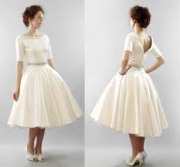 retro bridesmaid dresses modest ivory vintage inspired tea length bridal gown onewed