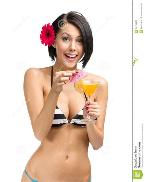 Bikini Drink Woman Wearing Bikini And Flower In Hair Drinks Cocktail