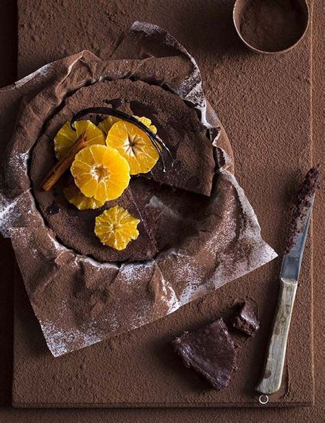baked chocolate mousse cake  spiced clementines