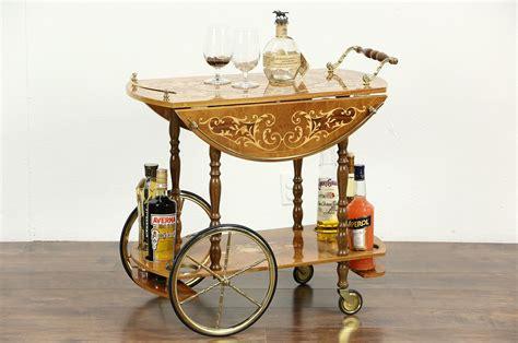sold italian marquetry vintage dessert  tea cart