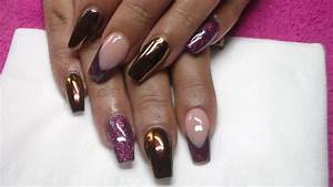 Burgundy Acrylic Coffin Nails - Nail Ftempo