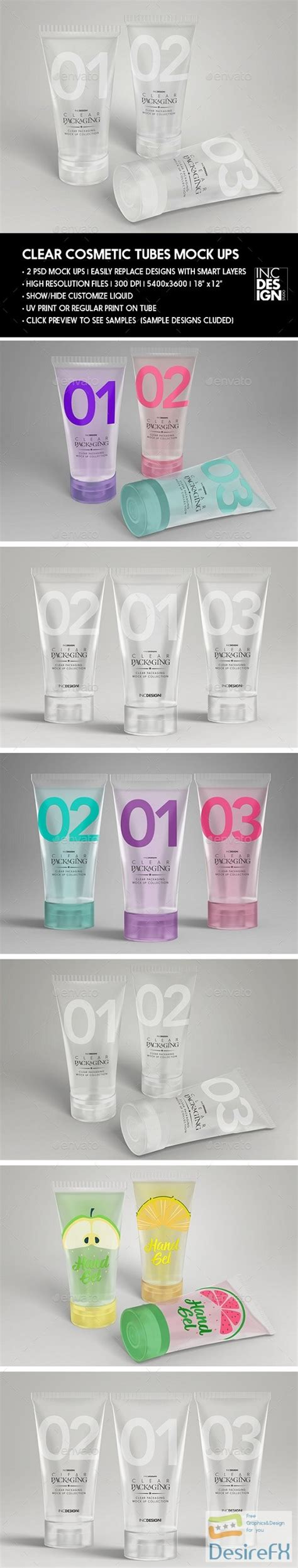 Contains special layers and smart objects for your work. Desirefx.com | Download Clear Cosmetic Tube MockUps 20753300