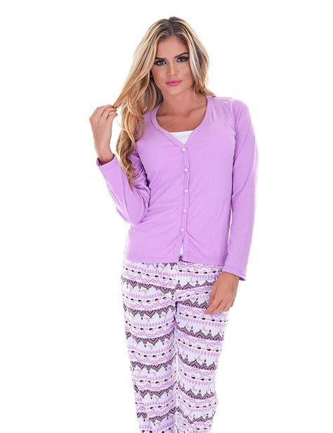 Womens Pjs Cotton Sleepwear 3 Piece Pajama Set Long