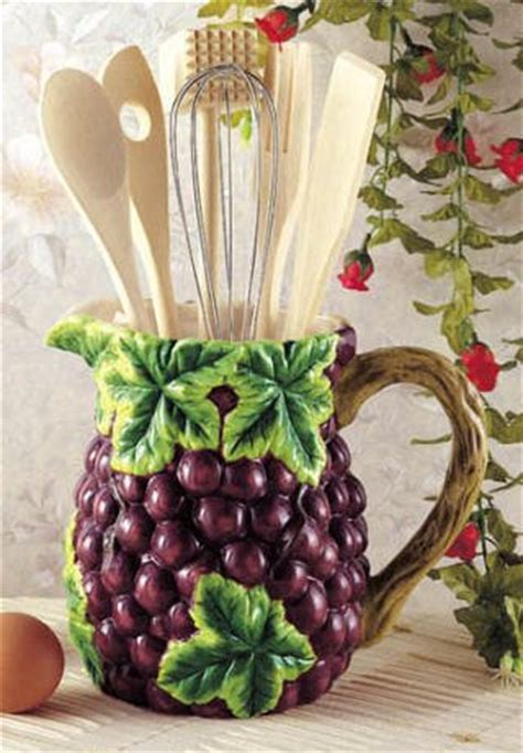 grapes wine kitchen utensil tool set decor pitcher 7 piece