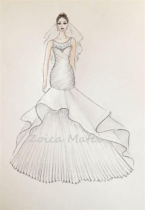 custom wedding dress sketch bride  veil illustration