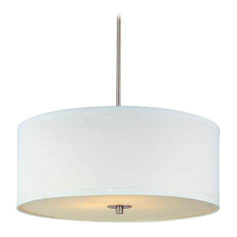 white drum pendant light modern drum pendant light with white shade in satin nickel