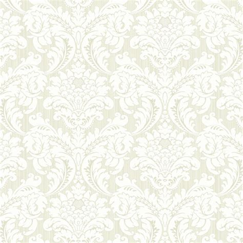Green And White Strie Flat Damask Wallpaper