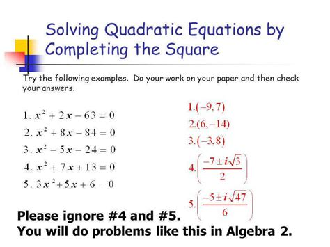 completing the square worksheet homeschooldressage com