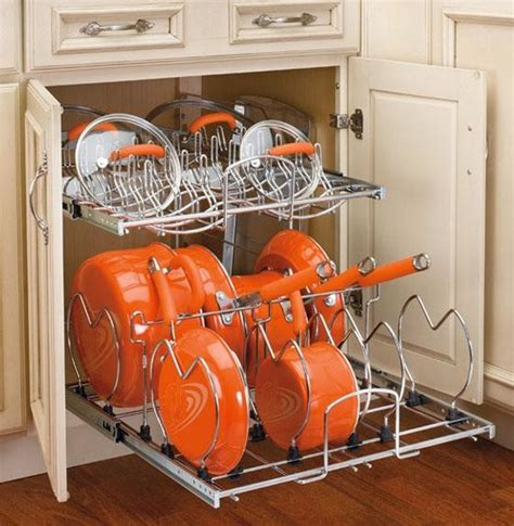 kitchen storage cabinets for pots and pans rev a shelf two tier cookware organizer eclectic