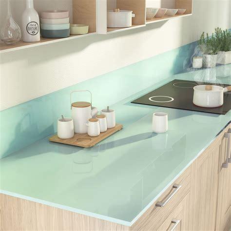 plan de travail pour cuisine leroy merlin plan de travail sur mesure verre laqué eau marine ep 15 mm leroy merlin