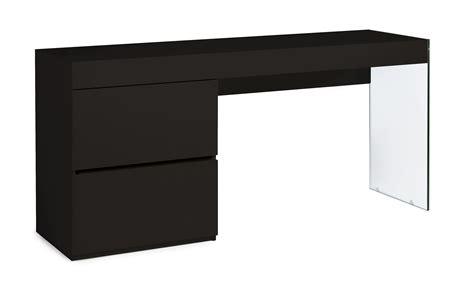 meuble de bureau moderne bureau moderne laqué noir 2 tiroirs cubique lestendances fr