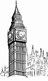 Ben Coloring Sketch Tower Clock Colouring Sketches London Drawings Outline Template Designlooter Inghilterra Sun Coloringsun sketch template