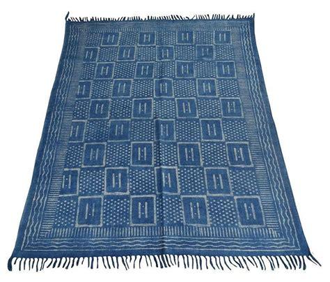 natural indigo color handmade rug cotton area rug indian