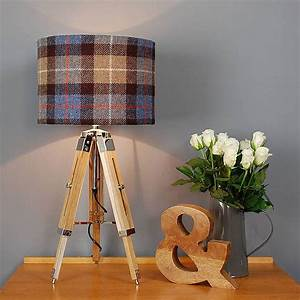 Table lamp and harris tweed check shade by quirk for Tripod floor lamp with tartan shade
