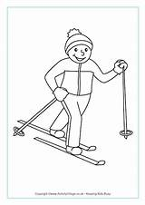 Skiing Country Cross Colouring Pages Winter Olympics Freestyle Crafts Coloring Sports Template Olympic Preschool Ski Activityvillage Printable Tel Outline Ice sketch template