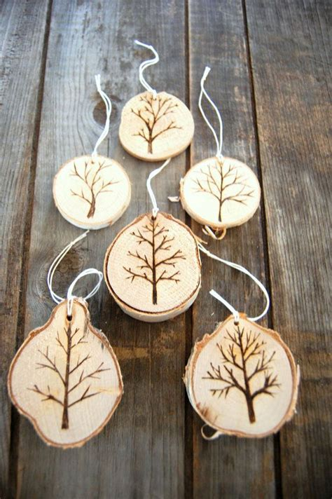 wood burned christmas tree ornaments bare tree holiday