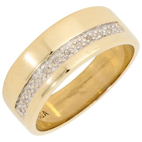 pre owned 9ct yellow gold diamond set wedding band ring