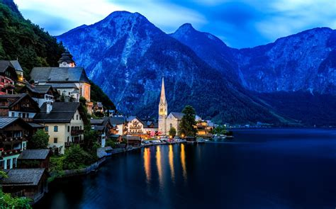 cityscape city hallstatt austria landscape wallpapers