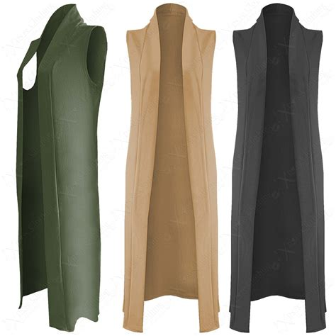 New Ladies Long Duster Jacket Womens Sleeveless Open Front