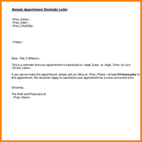 appointment reminder letter templates scrumps