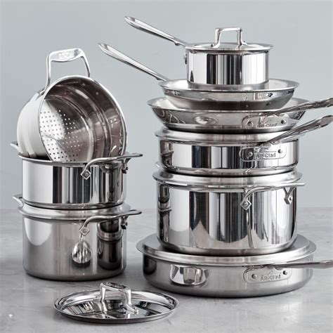 clad  stainless steel  piece cookware set williams sonoma ca