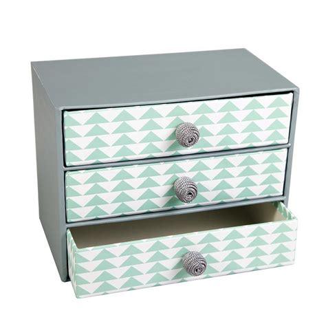 tiroir en rangement boite de rangement 3 tiroirs gris vert chevrons 20 x 15 x 12 cm