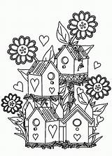 Coloring Pages Garden Flower Bird Birdhouse Gardens Colouring Houses Adult Print Flowers Printable Adults Books Gardening Drawing Tocolor Alexander Fairy sketch template